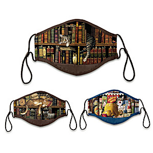 "3 Charles Wysocki ""Literary Cats"" Adult Face Masks"