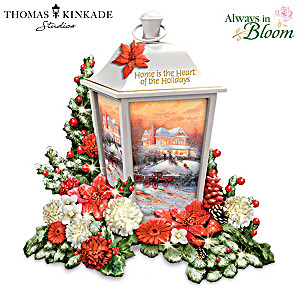 Thomas Kinkade Illuminated Art Lantern With Sculpted Flowers
