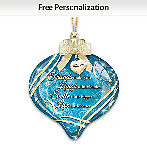 Illuminated Ornament With Personalized Charm For Friends