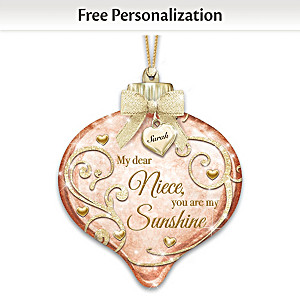 Illuminated Hand-Blown Glass Ornament Personalized For Niece