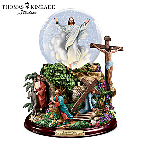 """""""Visions of Christ"""" Glitter Globe With Lights And Music"""
