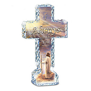 "Greg Olsen ""I Am Always With You"" Faceted Crystalline Cross"