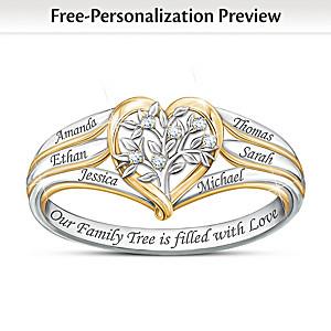 """Our Family Tree"" Heart-Shaped Women's Diamond Ring"