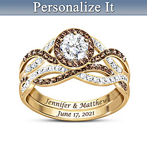 Deepest Love Personalized Diamond And Topaz Bridal Ring Set