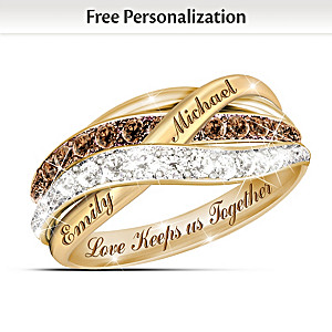 Solid 1K Gold Mocha & White Diamond Ring With 2 Names