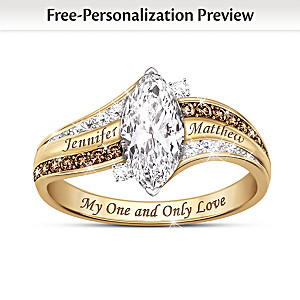 Solid 1K Gold Personalized Topaz And Diamond Ring