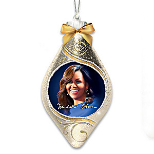 Michelle Obama Lighted Hand-Blown Glass Christmas Ornament