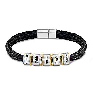 """Words Of Wisdom"" Men's Leather Bracelet For Grandson"