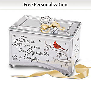 """Always Beside Me"" Personalized Music Box With Cardinal Art"