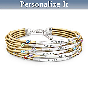 """""""We Are Family"""" Leather Bracelet Personalized With Names"""