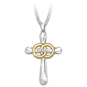 """""""Joined By God"""" Diamond Marriage Cross Pendant Necklace"""