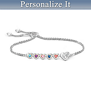 """""""Wrapped In Love"""" Personalized Crystal Birthstone Bracelet"""