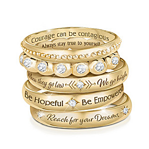 """""""Michelle Obama's Truths"""" Quotes Inspired 5-Ring Pendant Set"""