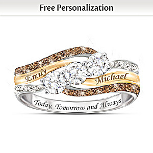 Personalized 10K-Gold Ring With White Topaz And Diamonds