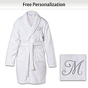Personalized Knee Length Bath Robe With Embroidered Initial
