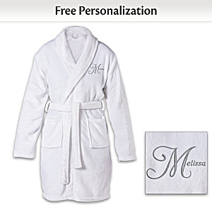 Personalized Knee Length Bath Robe With Embroidered Name