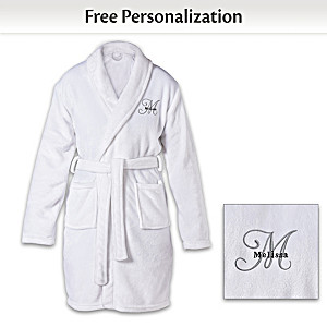 Personalized Knee Length Bath Robe With Initial And Name