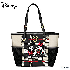 """Pretty In Plaid"" Faux Leather And Poly Twill Tote Bag"