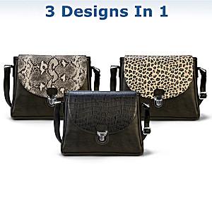 """Uniquely You"" Handbag With 3 Interchangeable Flap Designs"