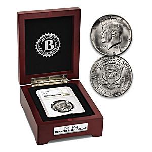 1964 First-Year JFK Silver Half Dollar Coin And Display Box