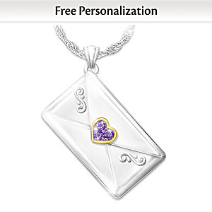 Personalized Birthstone Letter Pendant Necklace For Daughter