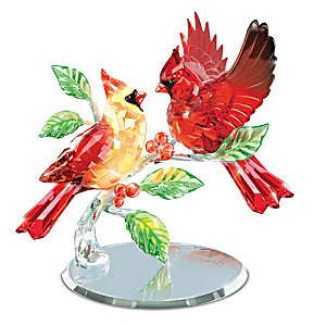 """Crimson Beauties"" Faceted Crystal Cardinal Figurine"