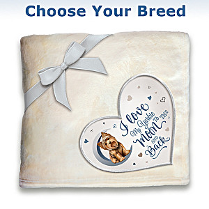 Plush Blanket With Heart-Shaped Applique: Choose Your Breed