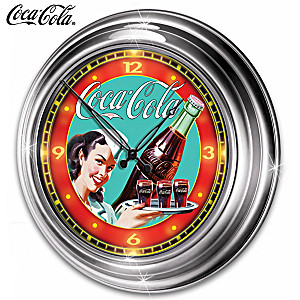 COCA-COLA Atomic Clock Featuring Lights And Vintage Art
