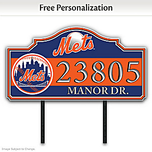 New York Mets Personalized Outdoor Address Sign
