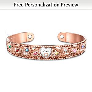 """Mom's Garden Of Love"" Personalized Copper Bracelet"