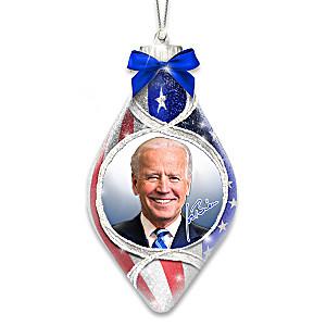 President Biden Lighted Hand-Blown Glass Christmas Ornament