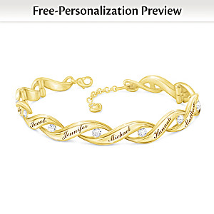"""""""Family Of Love"""" Personalized Link Bracelet With 10 Diamonds"""
