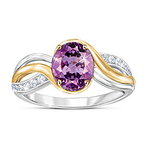 """Purple Harmony"" Amethyst And White Topaz Women's Ring"