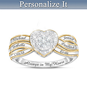 """""""A Mother's Heart"""" Personalized Ring With 7 Genuine Diamonds"""