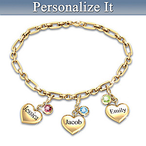 Personalized Family Birthstone Bracelet With Add-On Charms