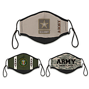 3 U.S. Army Adult Cloth Face Coverings With Case