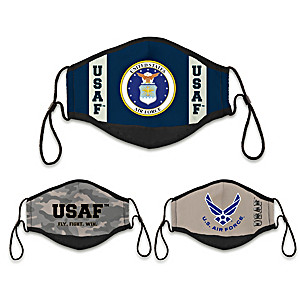 3 U.S. Air Force Adult Cloth Face Coverings With Case