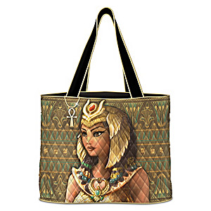 Cleopatra Quilted Tote Bag With Ankh-Shaped Charm