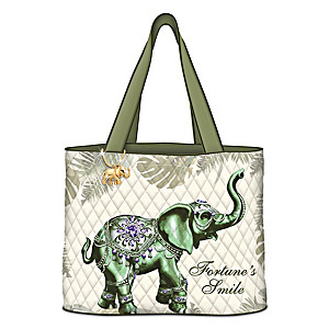 """""""Fortune's Smile"""" Quilted Tote Bag With Elephant Charm"""