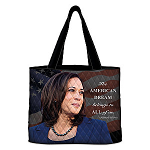 Vice President Kamala Harris Quilted Tote Bag With A Quote