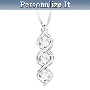 Personalized Infinity Pendant Necklace With Diamonds