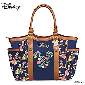 Disney Mickey Mouse And Minnie Mouse Floral Printed Tote Bag