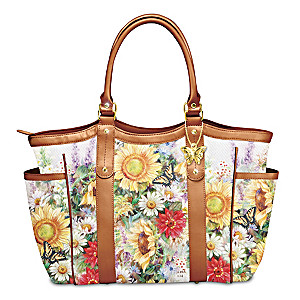 Lena Liu Floral Art Shoulder Tote With Butterfly Charm