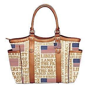 """American Spirit"" Patriotic Art Tote Bag With Flag Charm"