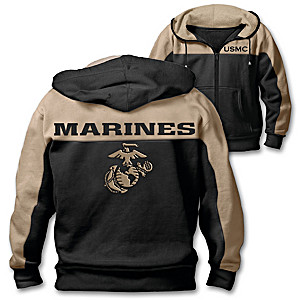 """Marine Corps Honor"" Men's Cotton Blend Hoodie"