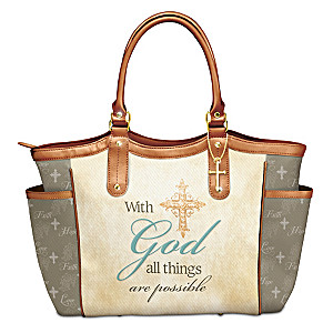 """""""With God All Things Are Possible"""" Tote With A Cross Charm"""