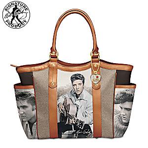 """I Love Elvis"" Shoulder Tote Bag With A Heart Charm"