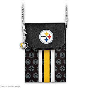 Steelers Crossbody Cell Phone Bag With Logo Charm