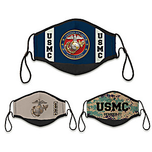 3 U.S. Marine Corps Adult Cloth Face Coverings With Case