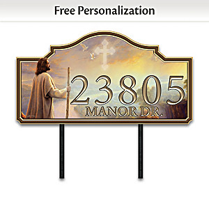 Greg Olsen's Jesus Art Personalized Outdoor Address Sign